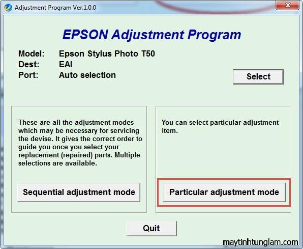 Hướng dẫn reset Epson T60 T50 1390 1400