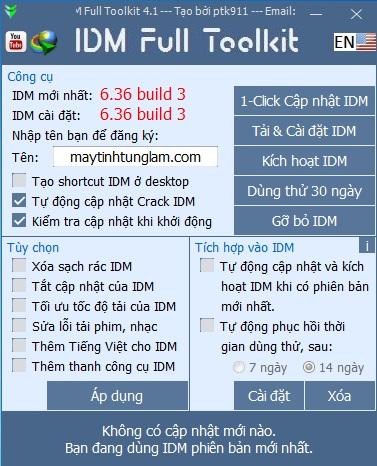 IDM Toolkit 4.1 ptk911 - Crack IDM mới nhất 2020